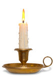 Candle in brass holder  Royalty Free Stock Photo