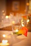 Candle on Bridal Table Orange Wedding Theme Stock Image