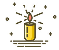 Candle burn with fire realistic. Trendy linear icon. Element for design decor, vector illustration. Candles burn with fire realistic. Set isolated on transparent Royalty Free Stock Images