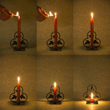 Candle Burning Down. Time lapse sequence compilation of a candle burning down in 6 photo's Royalty Free Stock Image