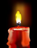 Candle burning. Isolated candle burning and soft light around the flame, vector Stock Photography