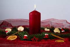 Candle. Burning red candle with fir branches Royalty Free Stock Photo