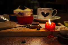 The candle burns and melts Royalty Free Stock Photo