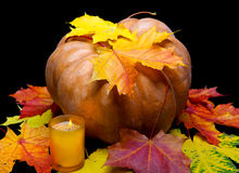 The candle burns before pumpkin with a many maple leaf Royalty Free Stock Photo