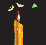 Candle and butterfly Stock Photography