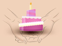 Candle cake hold two human hands across vector Stock Image