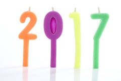2017 Candle. Candles  2017 candles numbers in white background, new year concept Stock Images