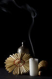 Candle, Canteen And Paper Ornaments Stock Images