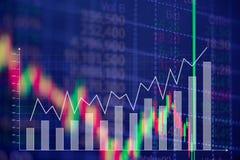Candle a carta do gráfico da vara com o indicador que mostra o ponto com tendência para a alta ou fotos de stock