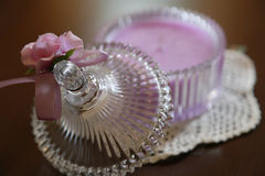 Candle case of the glass. With the ribbon of the table Royalty Free Stock Photo