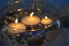 Candle Centerpiece at Night Royalty Free Stock Images