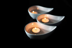 Candle In Ceramic Bowl III Stock Photography