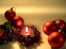 Candle and Christmas Accessories royalty free stock photo