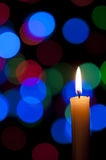 Candle and Christmas background Royalty Free Stock Photography