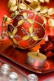 Candle with Christmas ball Stock Photo