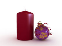 Candle and christmas ball Stock Photo