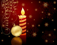 Candle, Christmas ball and snowflakes. Burning candle, Christmas ball, tinsel and snowflakes, illustration Royalty Free Stock Image
