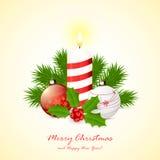 Candle with Christmas balls Stock Photos