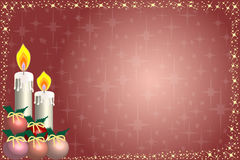 Candle christmas card and stars. Illustration of candle christmas card with stars and balls con copy-space Royalty Free Stock Photo