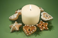 Candle and Christmas Cookies Stock Photography