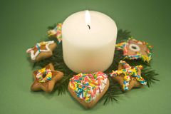 Candle and Christmas Cookies Royalty Free Stock Photography