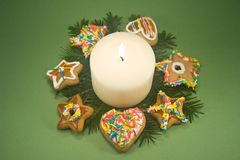 Candle and Christmas Cookies Royalty Free Stock Photos