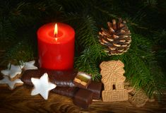 Candle with christmas decoration Stock Images