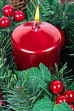 Candle in christmas decoration Royalty Free Stock Photo