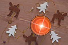 Candle and christmas decoration Stock Photo