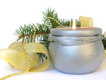Candle and christmas decoration Royalty Free Stock Image