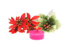 Candle and Christmas decoration Stock Images