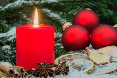 Candle and christmas decoration Royalty Free Stock Photo