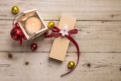 Candle with christmas decoration, top view Stock Photos