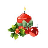Candle with Christmas decoration Royalty Free Stock Photography