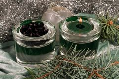 Candle with christmas decorations Royalty Free Stock Photos