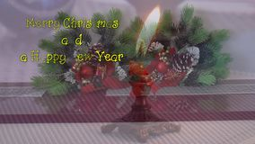 Candle, Christmas decorations, signed with the New Year and Christmas stock footage
