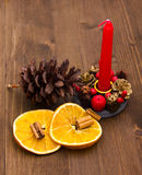 Candle with Christmas decorations Stock Image