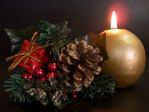 Candle and Christmas-Tree Decoration stock photo