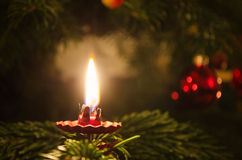 Candle on christmas tree Stock Photography