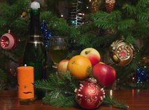Candle and christmas-tree decorations Royalty Free Stock Photos