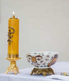 Candle in a church Stock Image