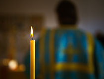 Candle in church Royalty Free Stock Images