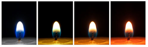 Candle close-ups in various colors Stock Photo