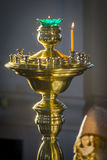 Candle. A closeup shot of a candle in a orthodox church Royalty Free Stock Photo