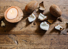 Candle in a coconut shell Stock Images