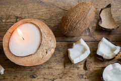 Candle in a coconut shell Stock Photography