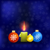 Candle and Colorful Glass Balls. Isolated on Blue Snowflakes Background. Winter Pattern royalty free illustration