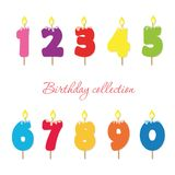 Candle colorful numbers. Birthday party and celebration design elements set. Vector Royalty Free Stock Images