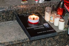 Candle for commemorative Mayor of Gdansk. candle founded by councilor in the capital city of