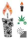 Candle Mosaic of Cannabis. Candle composition of cannabis leaves in variable sizes and color hues. Vector flat grass symbols are united into candle composition Stock Images